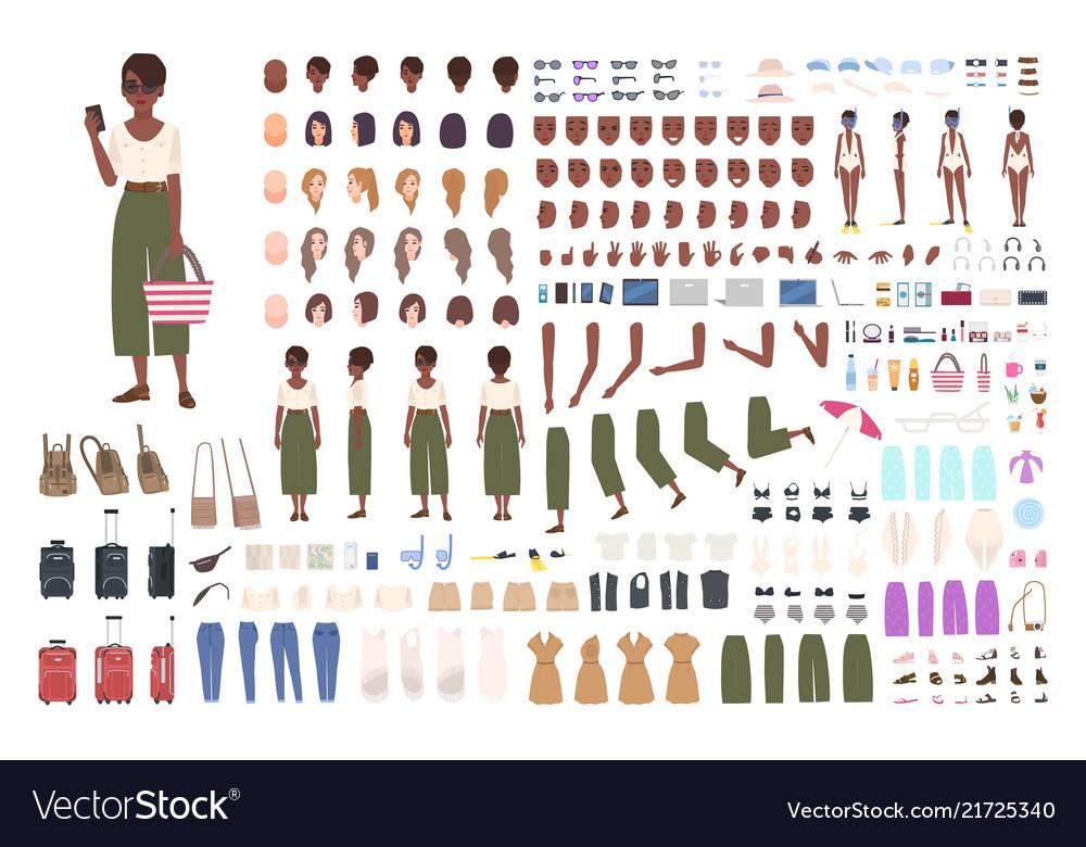 African american traveler woman animation kit