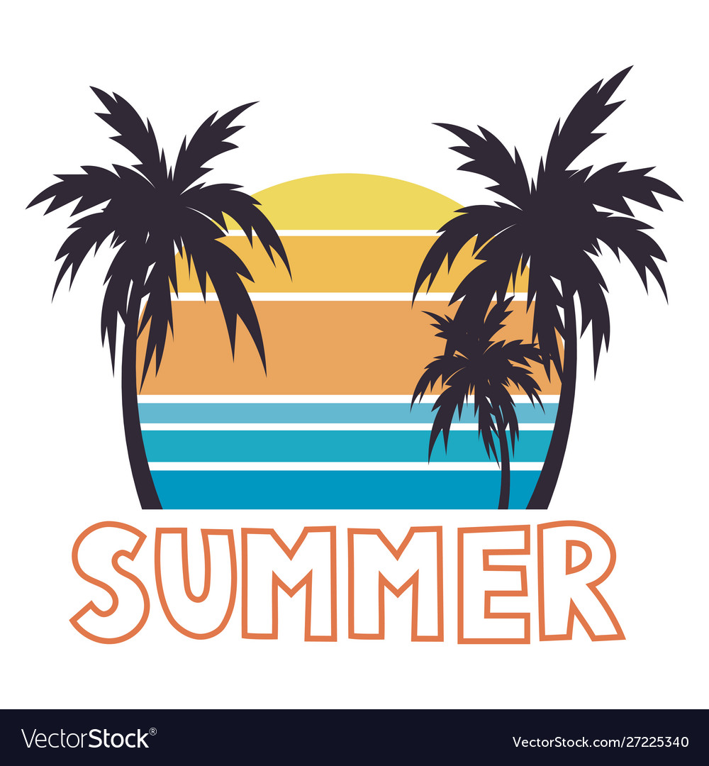 Beach with palm trees for a print on a tee