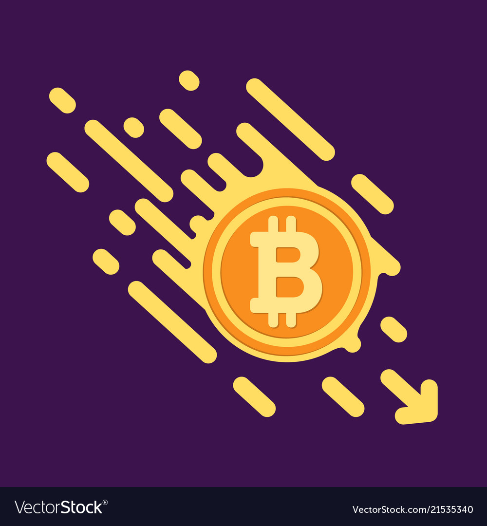 Bitcoin symbol in flat design for internet money