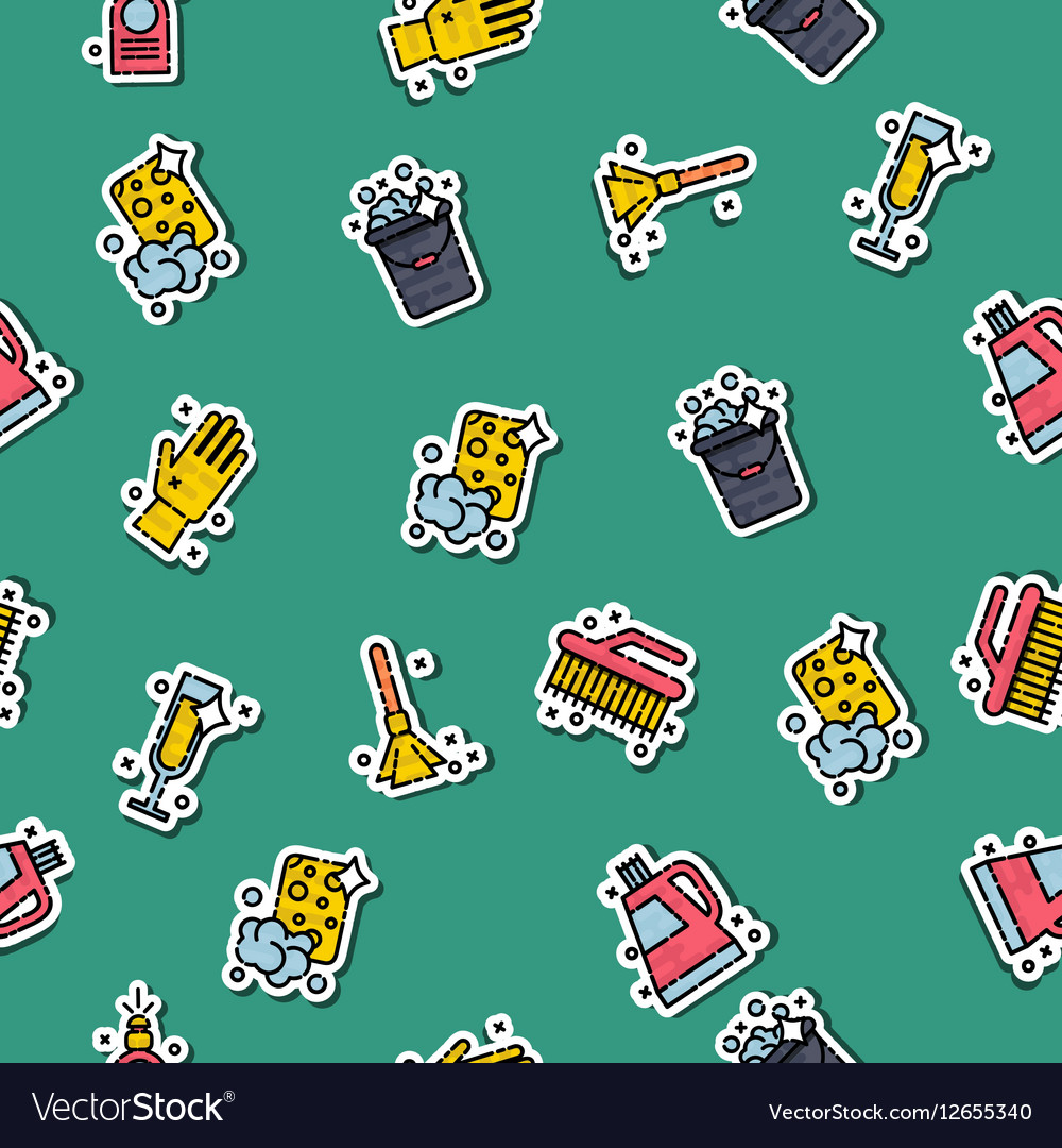 Cleaning icons set pattern