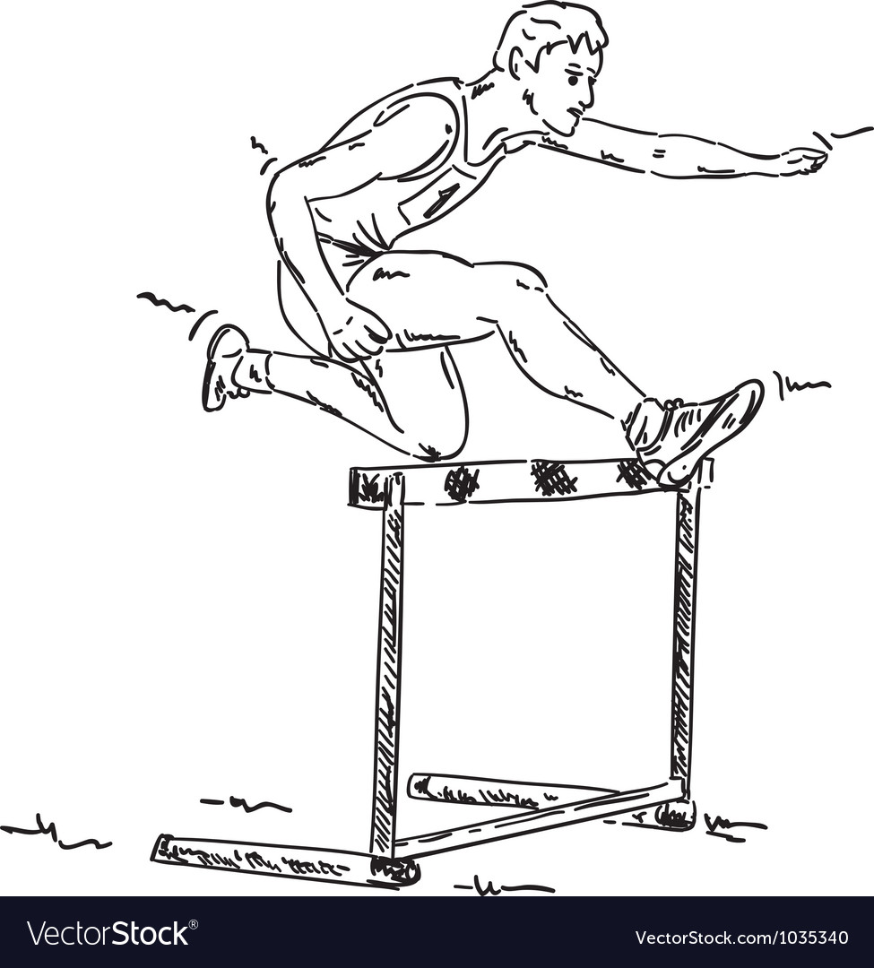 Male in a hurdle race vector image