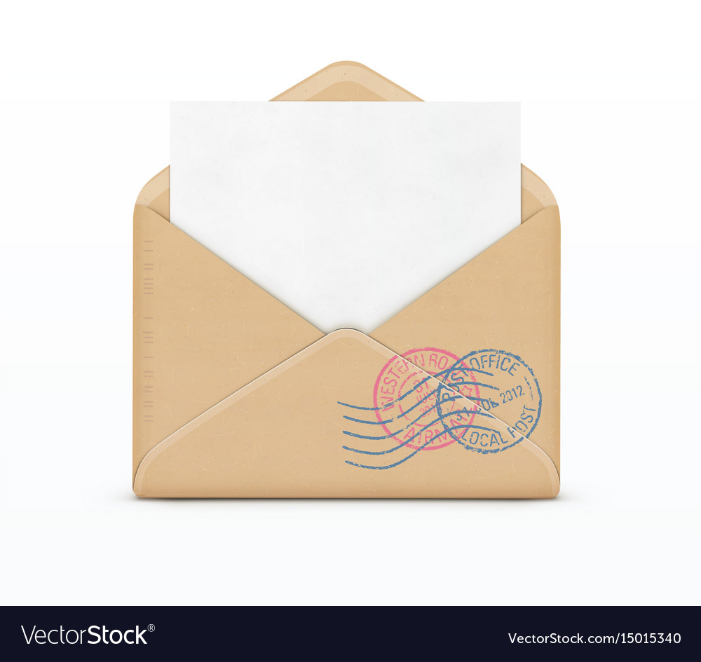 Open envelope and white paper