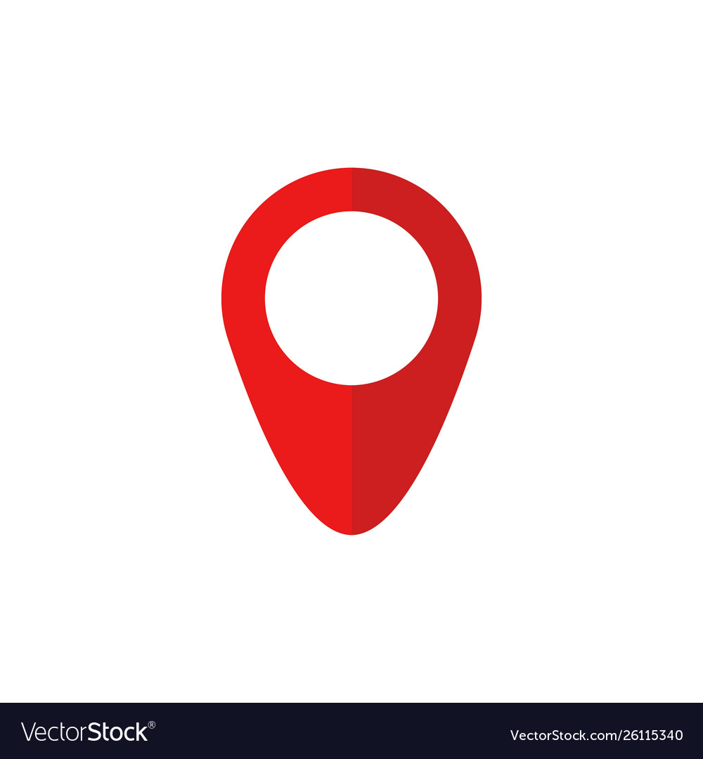 Red map pin icon in flat style pointer symbol