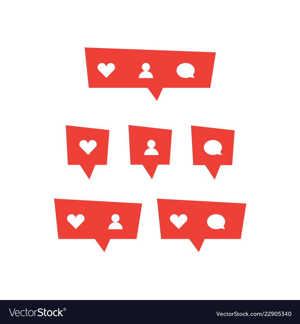 Red social media bubble shape with like heart