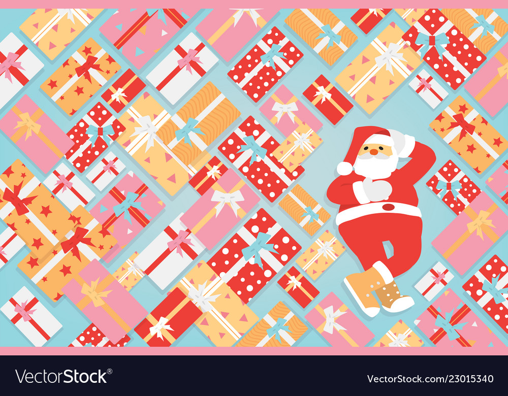 Santa claus with bunch of colorful gifts box