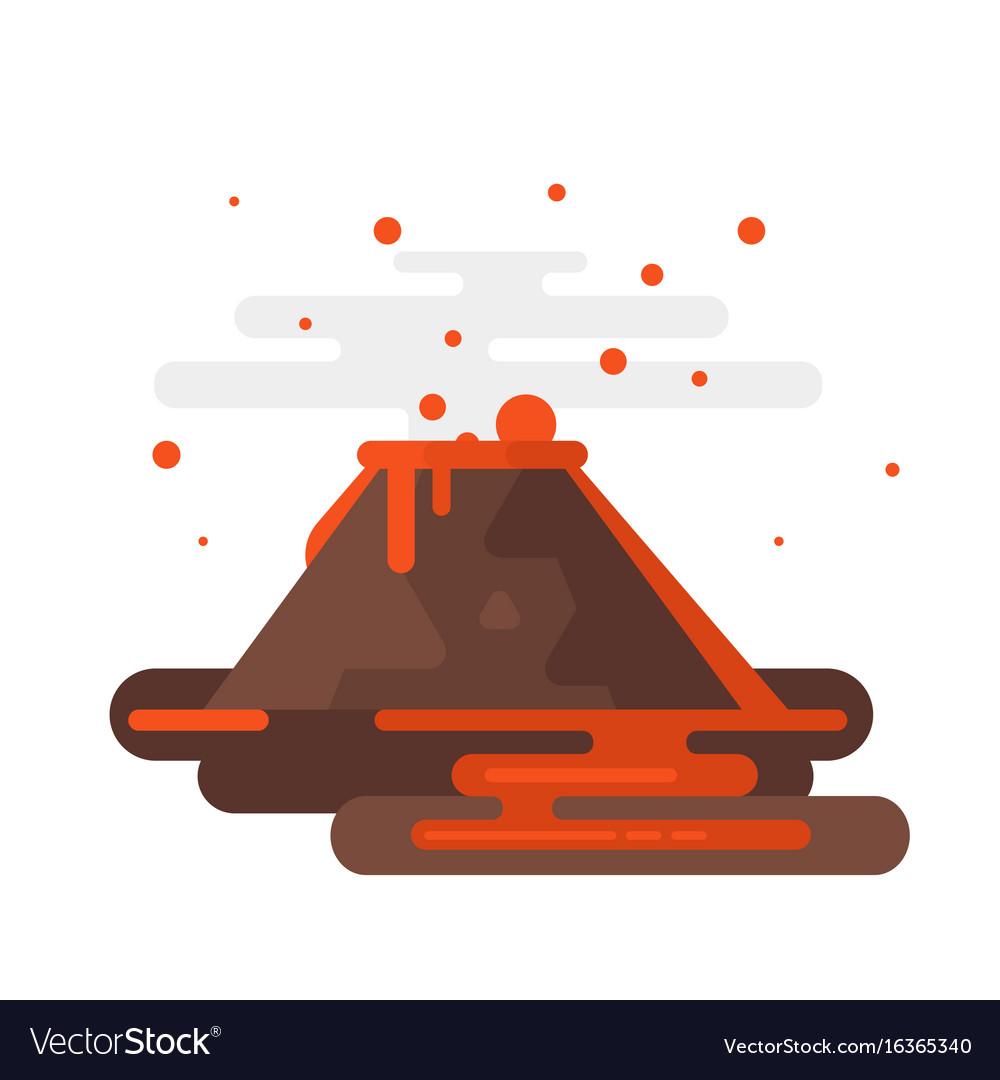 Volcano eruption with smoke and lava