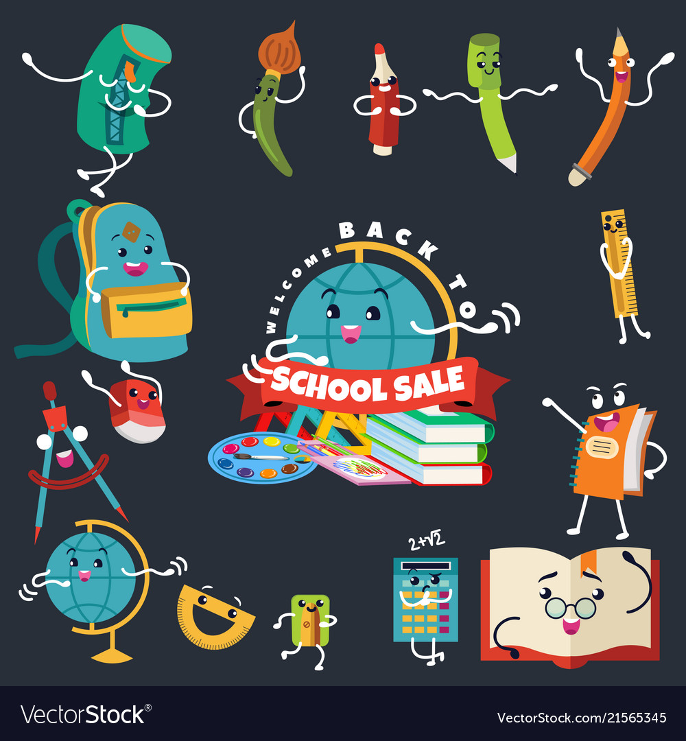 Back to school sale supplies stationery logo