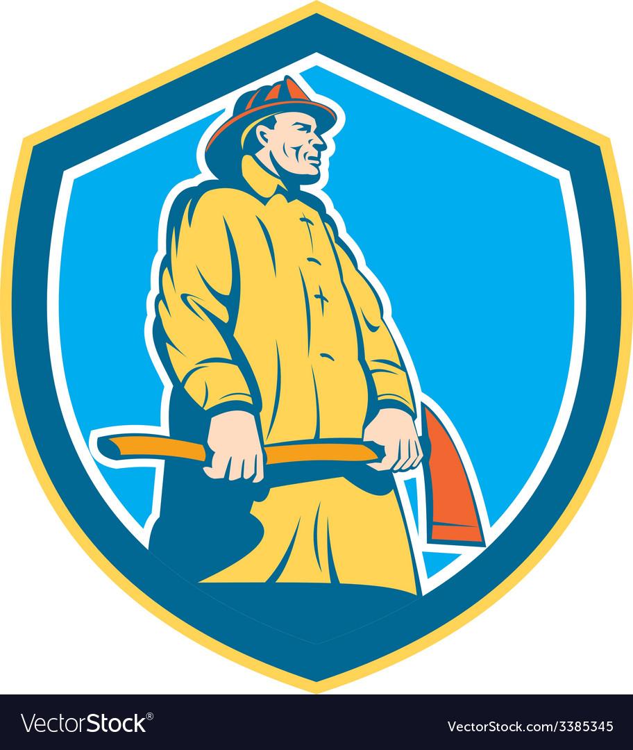 Fireman Firefighter Standing Axe Shield Retro vector image