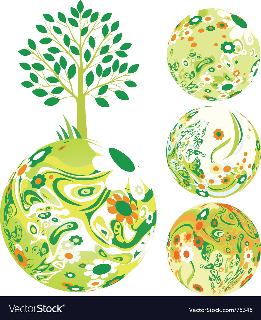 Floral globe vector image