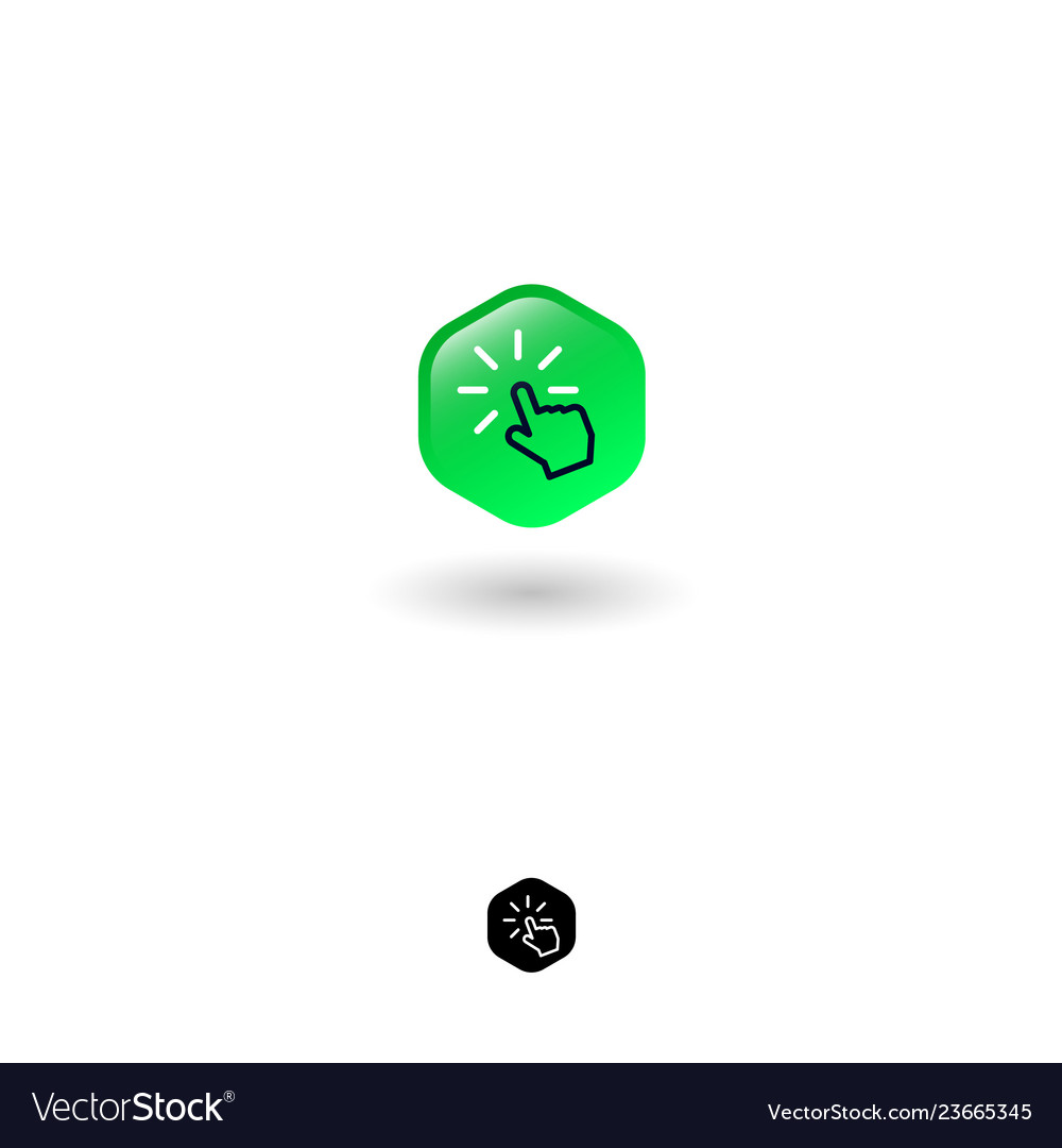 Icon click hexagon turn on hand loading
