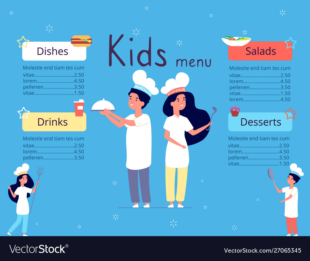 Kids menu children in chef hat cooking food in