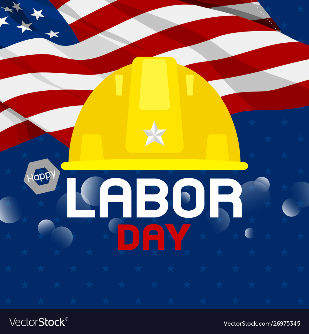 Labor day design construction hat and usa flag