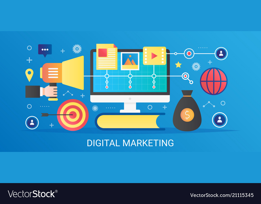 Modern flat gradient digital marketing