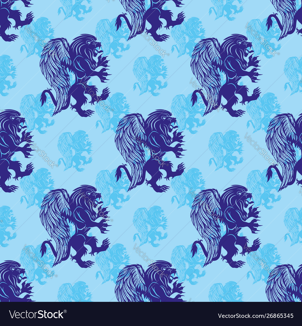 Seamless pattern with griffins lions