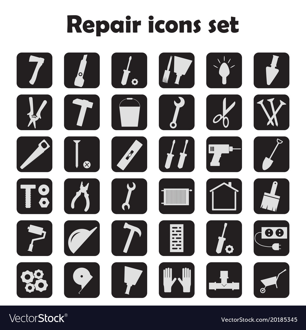 Set of icons of work tools