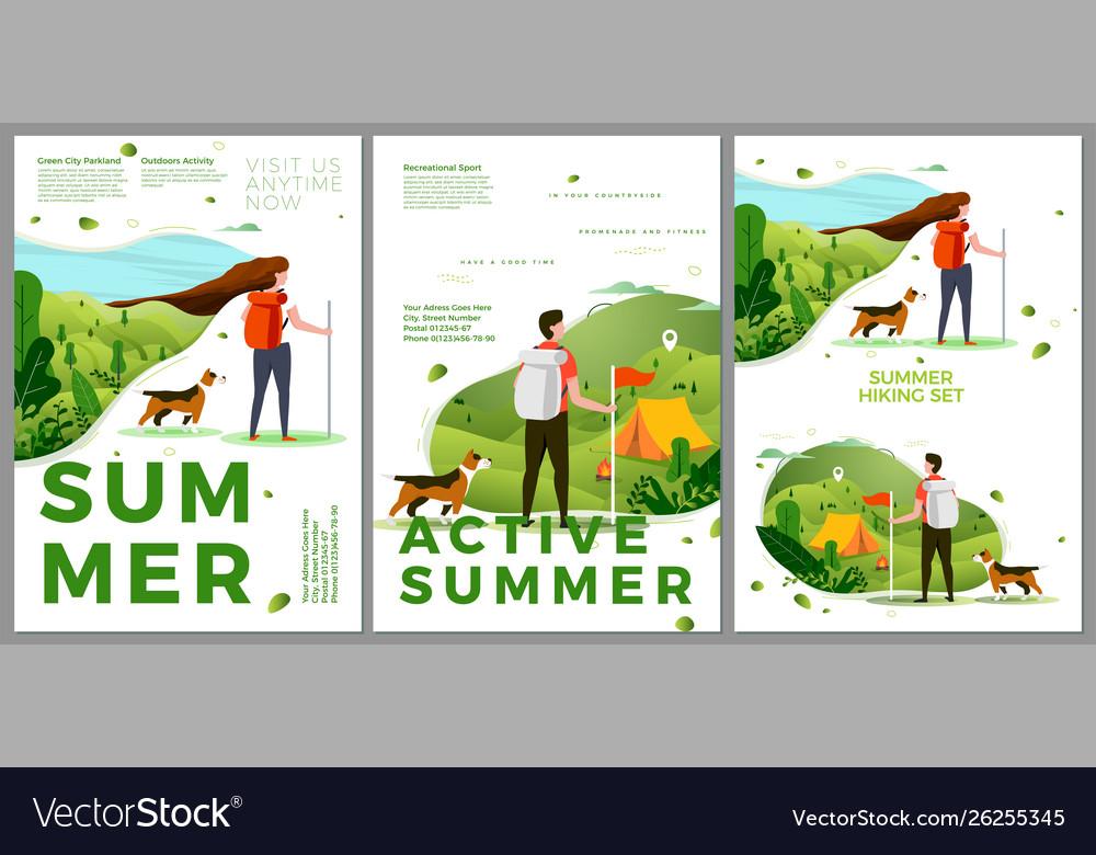 Summer hiking travel posters set man woman
