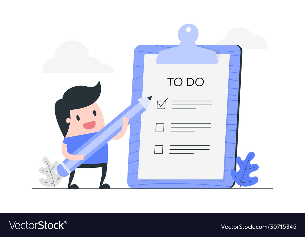 Young man with to do list
