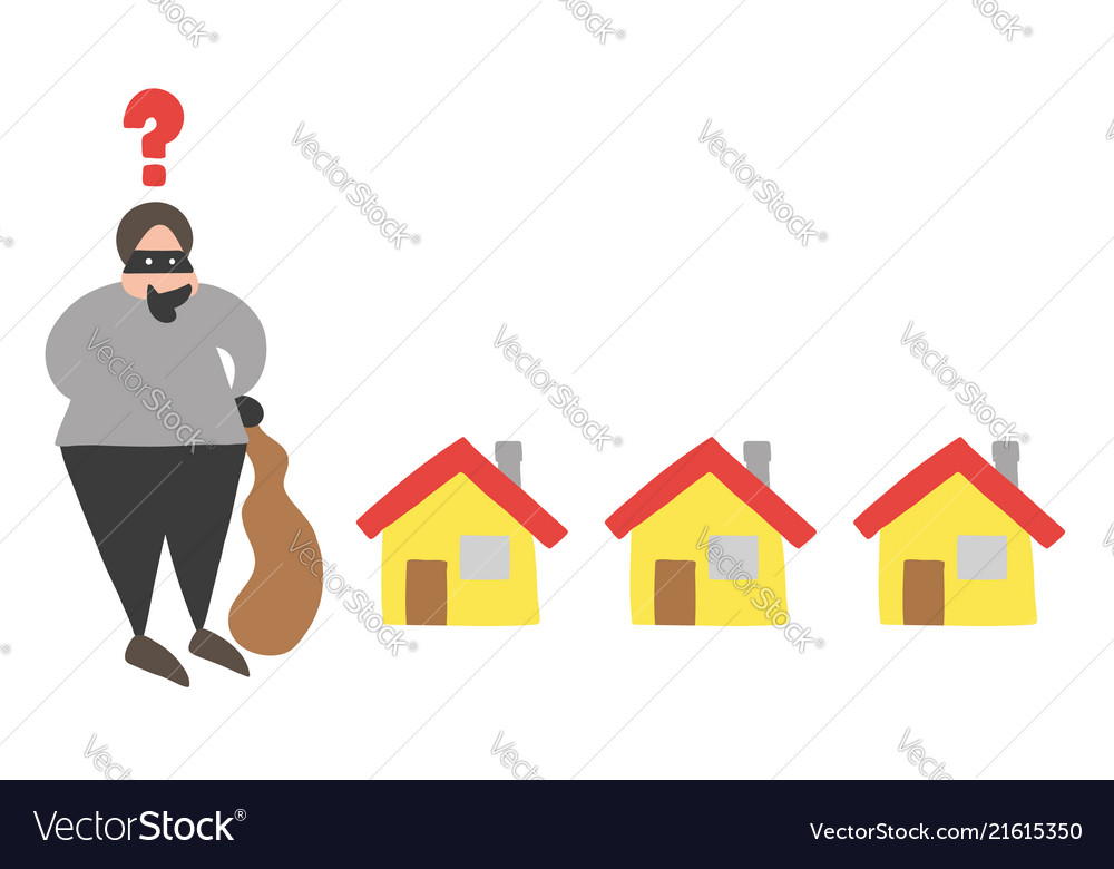 Cartoon thief man with face masked with sack and
