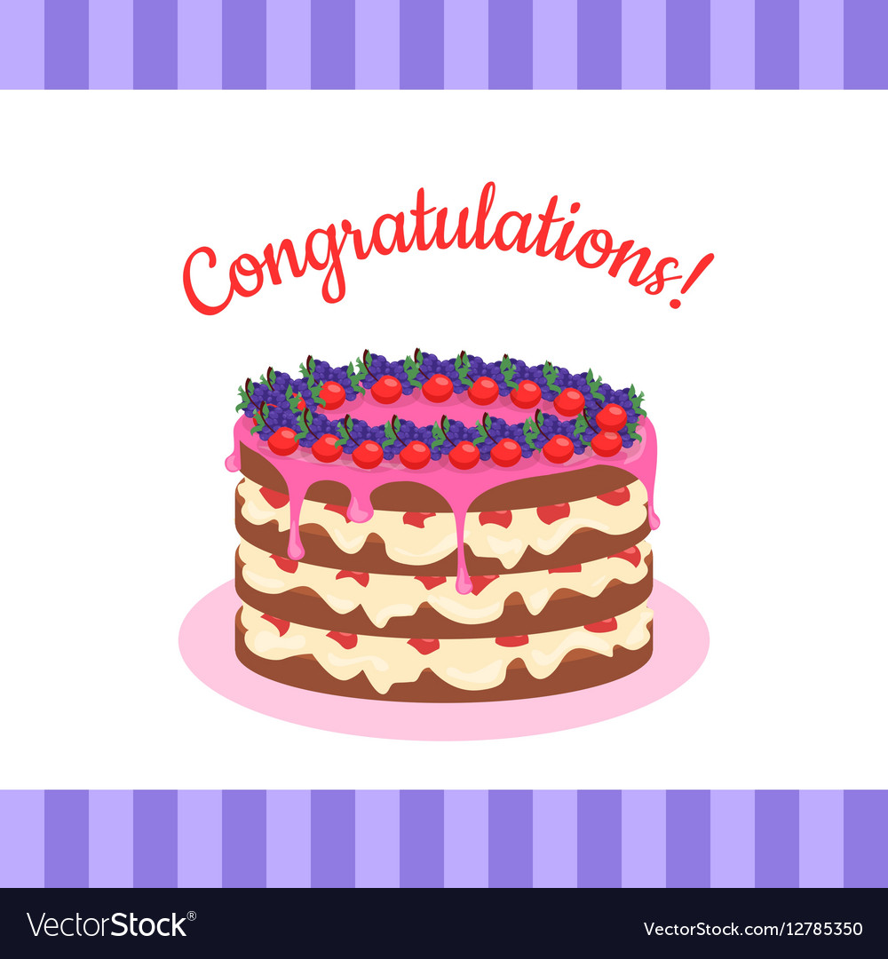 Congratulations Cake Banner Postcard Greeting Card vector image