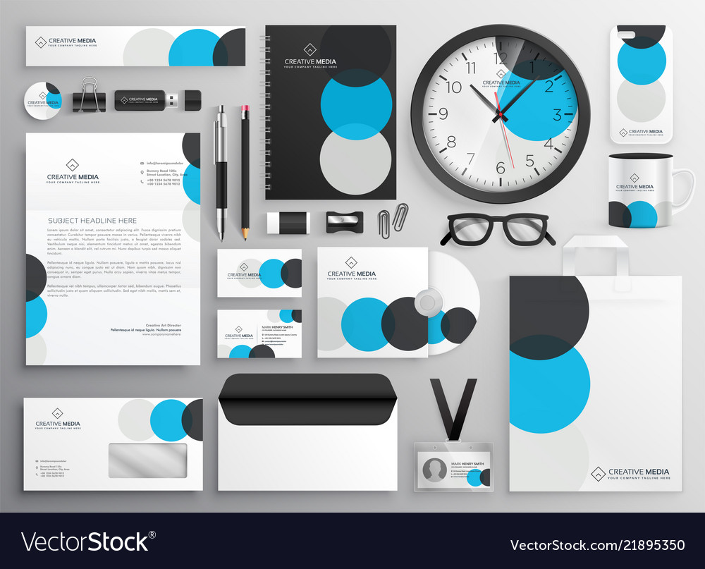 Creative circle stationery set for business