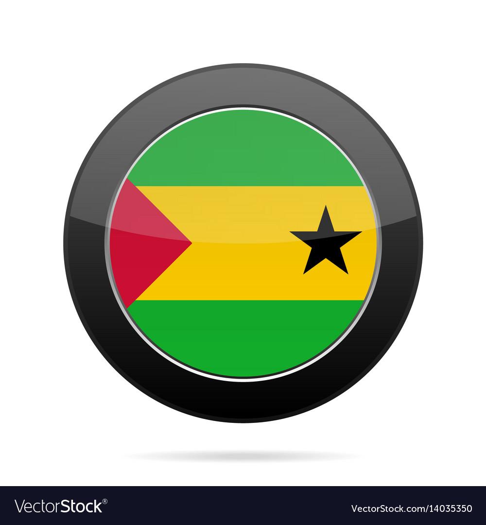 Flag of sao tome and principe black round button