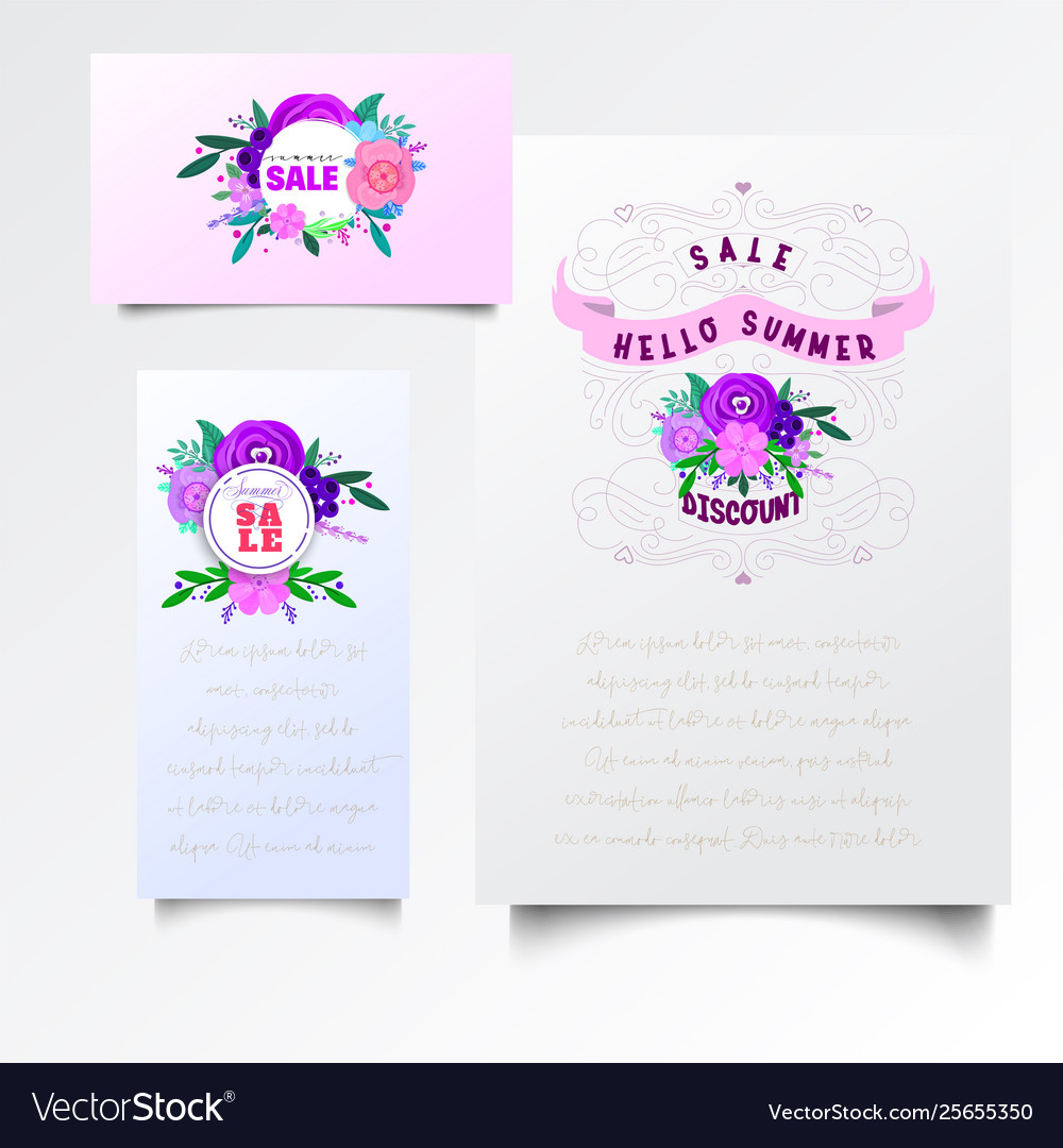 Flowers decorative design elements vector