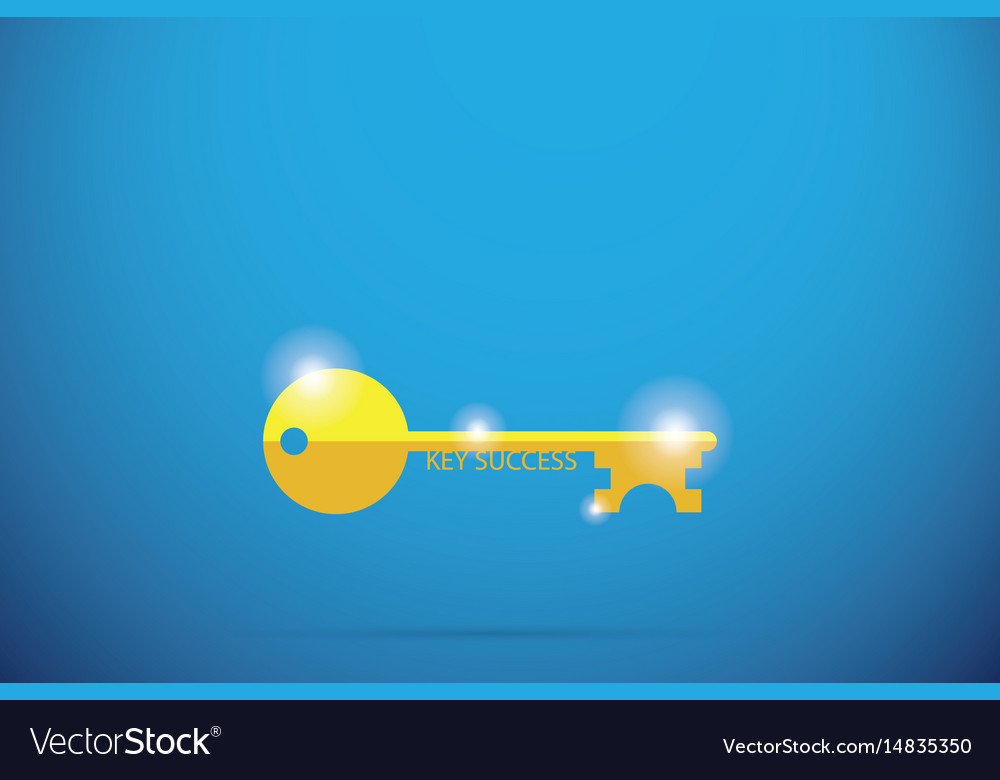 Gold key with key success word success concept