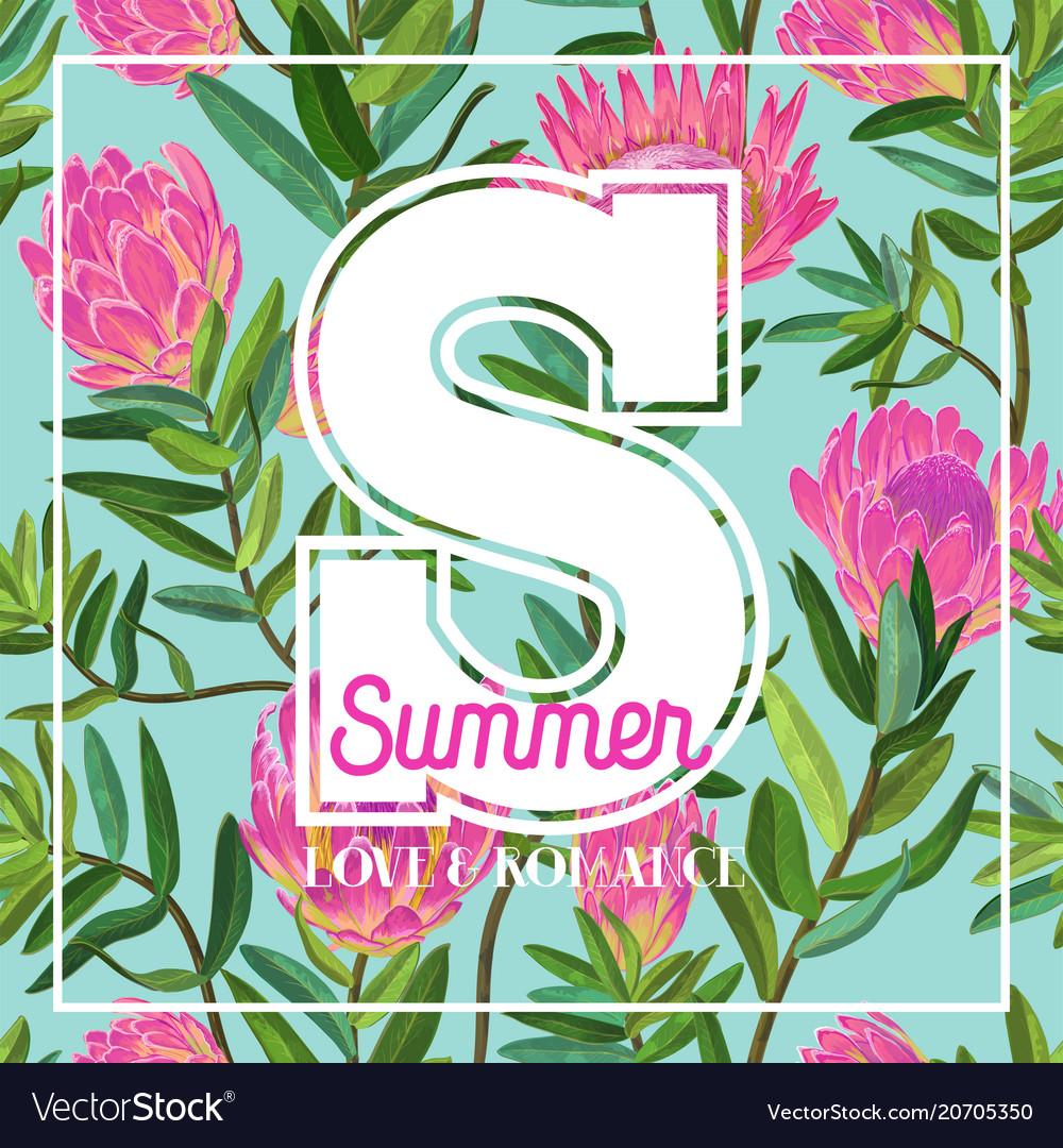 Hello summer tropical design floral vintage