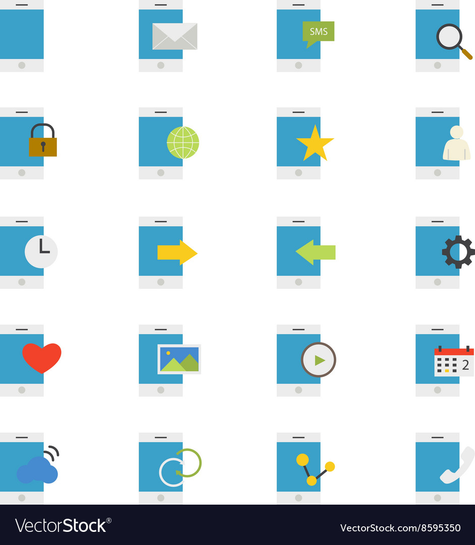 Mobile Phone Device Flat Icons color