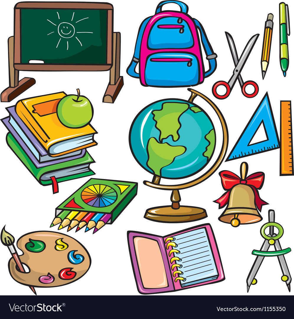 School accessories icons set vector image