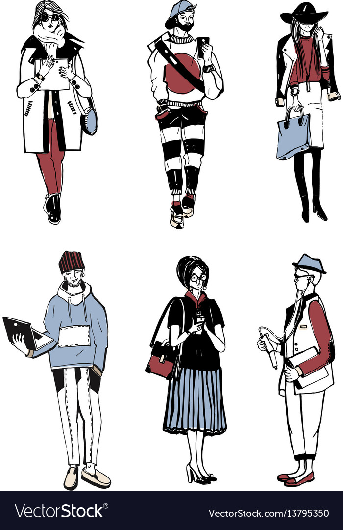 Set of stylish people with gadgets at street