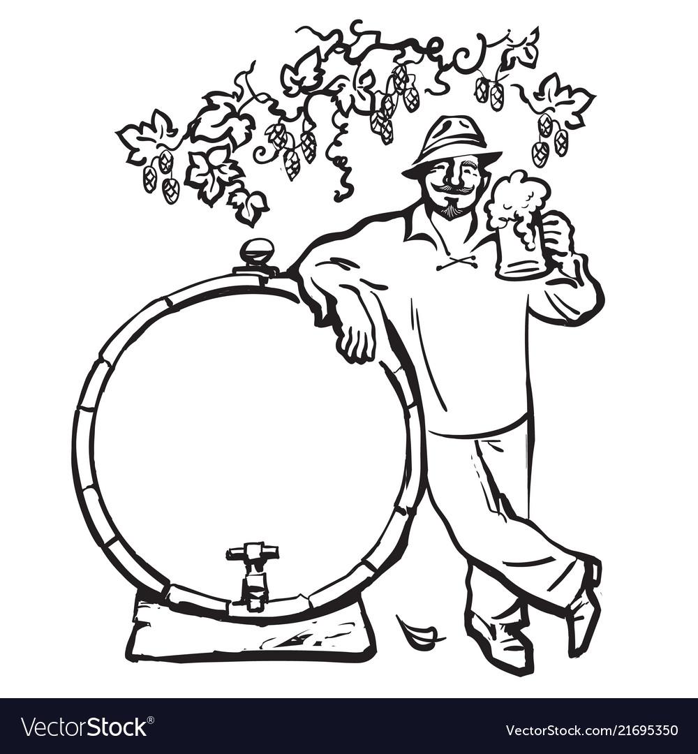 Smiling man with beer mug leaning on barrel under