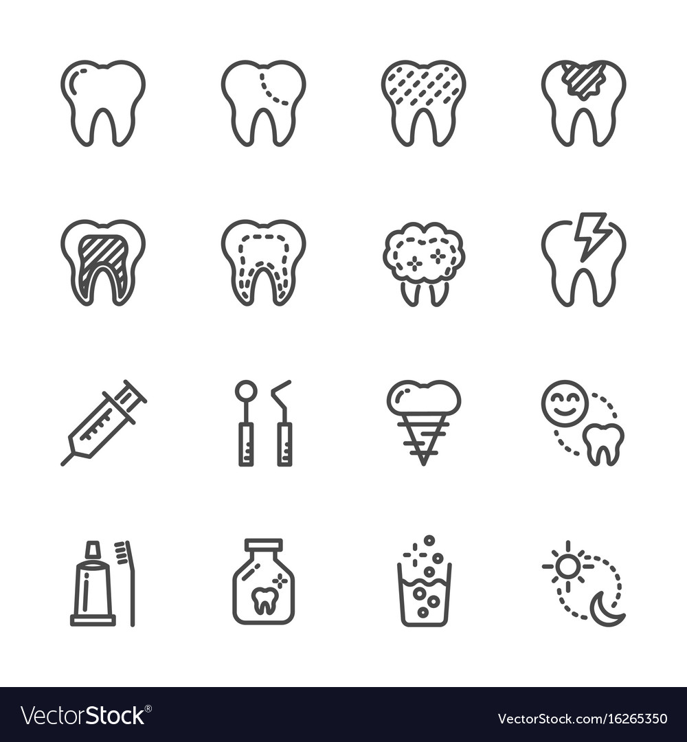 Tooth and dental healthcare and medical icons