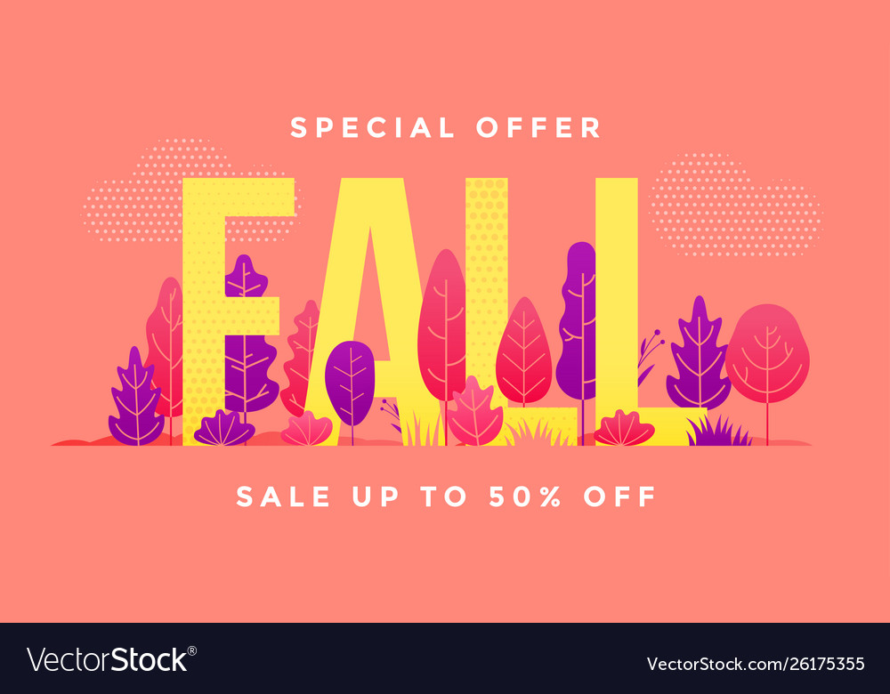 Autumn sale shopping season forest leaves banner