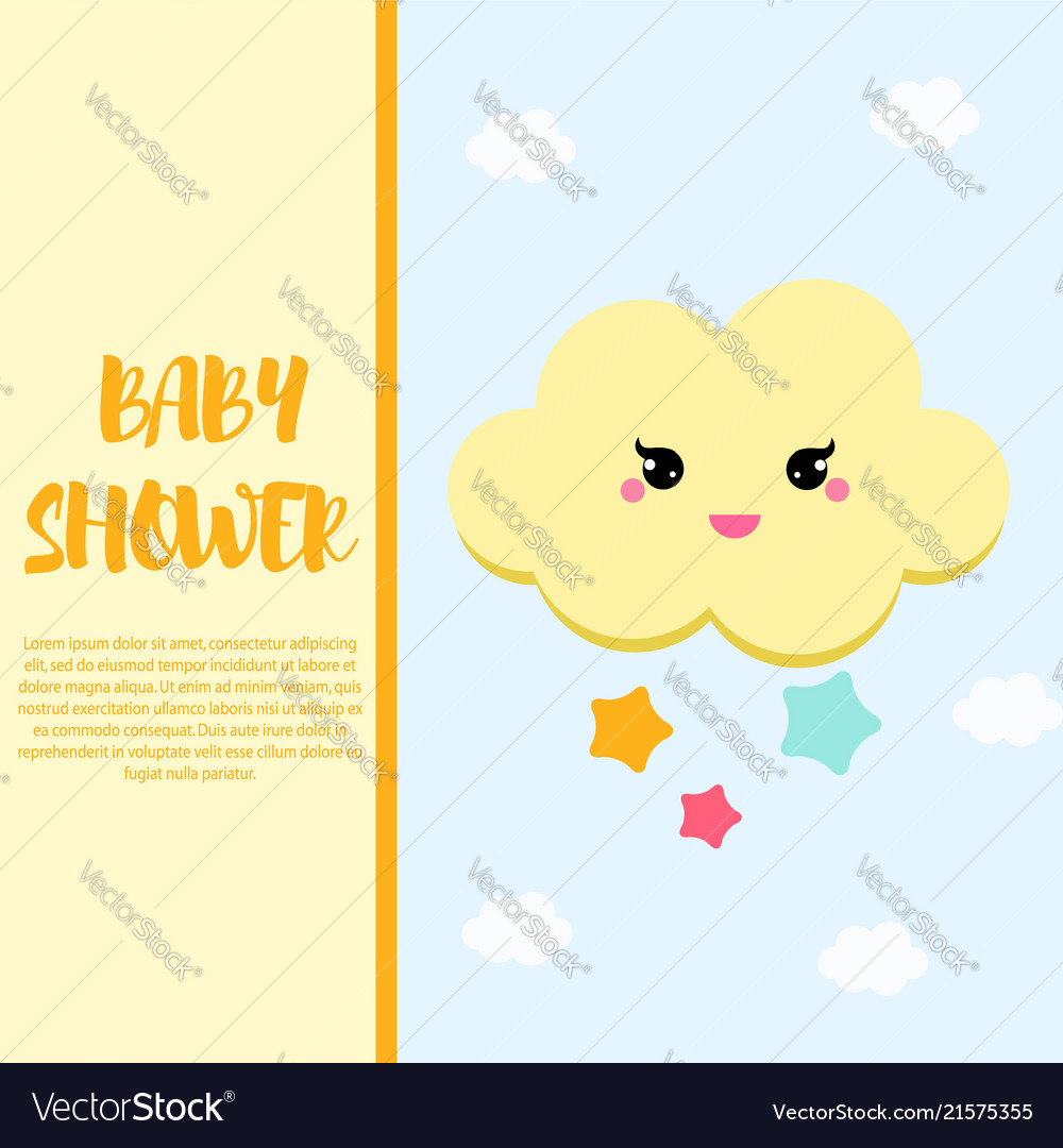 Baby shower card design template with cute cloud