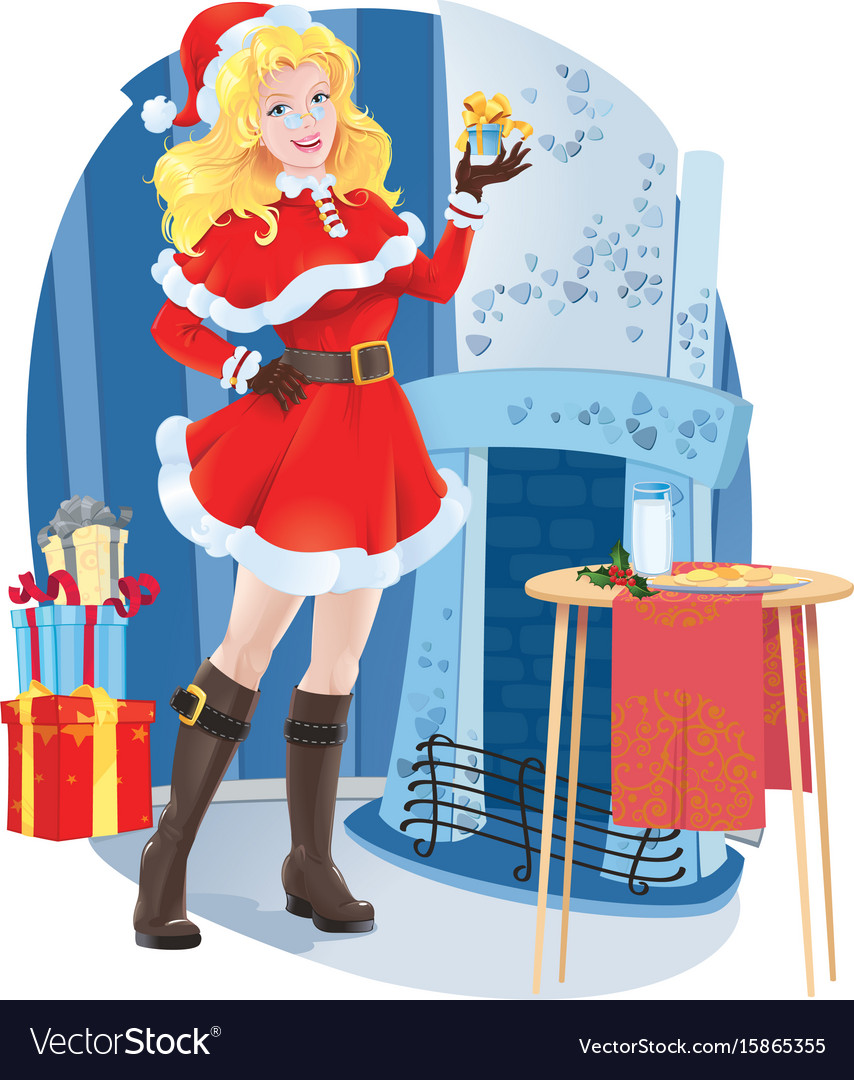 Beautiful santa girl with christmas present vector image
