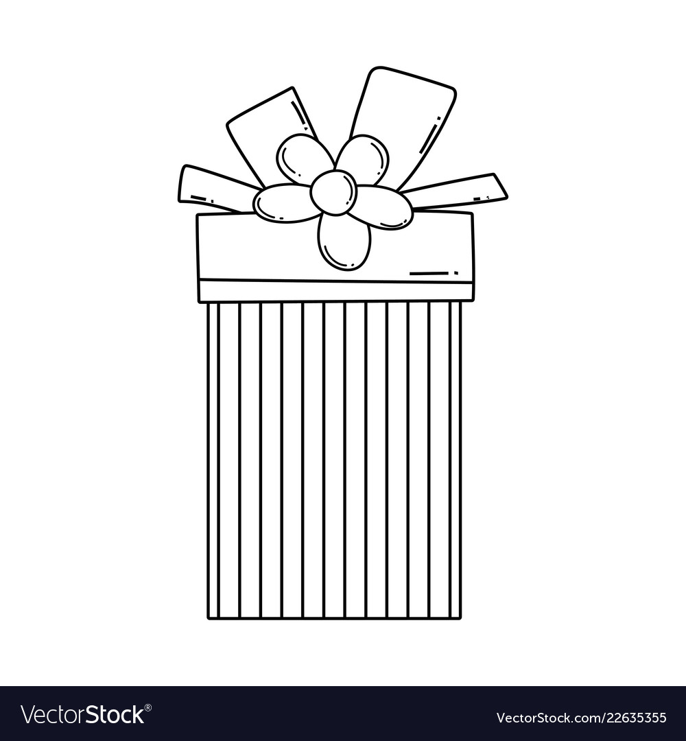 Birthday giftbox cartoon in black and white