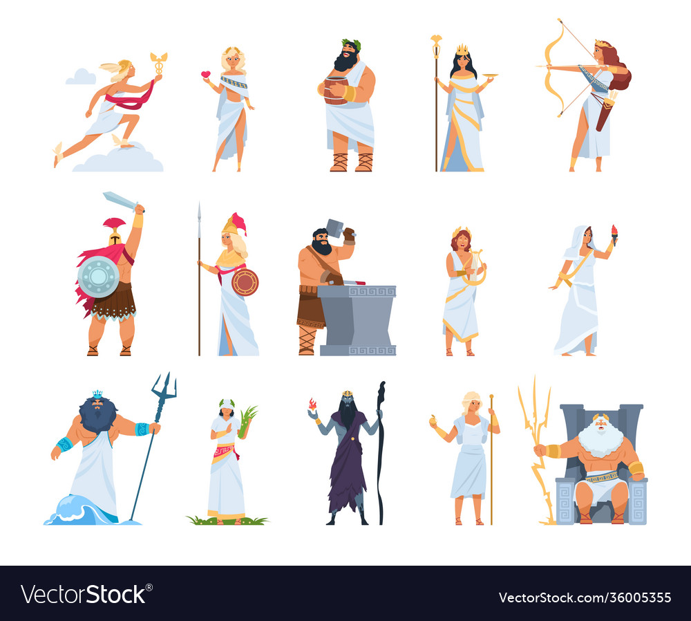 Cartoon greek gods members divine pantheon