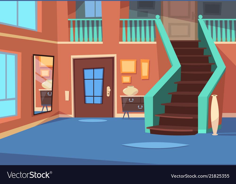 Cartoon Hallway House Entrance Interior With