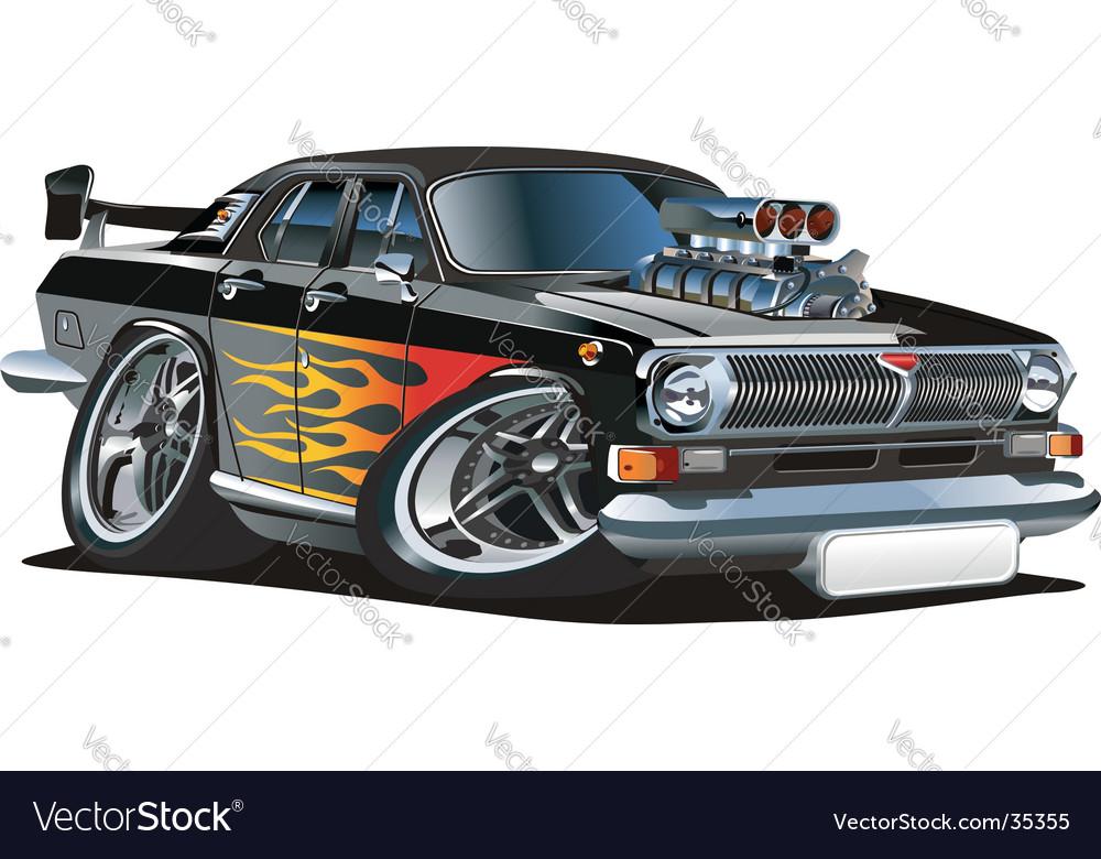 Cartoon retro muscle car