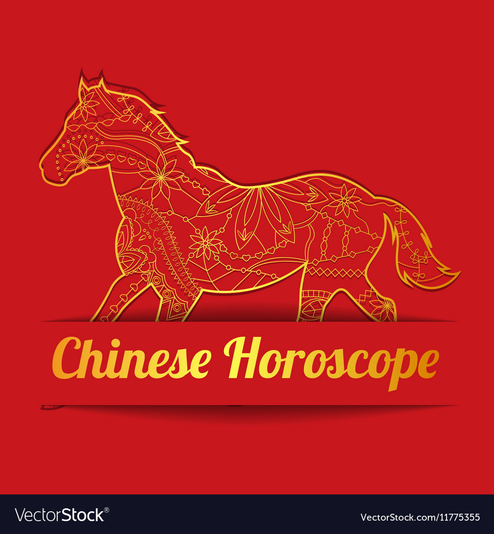 Chinese horoscope background with golden horse