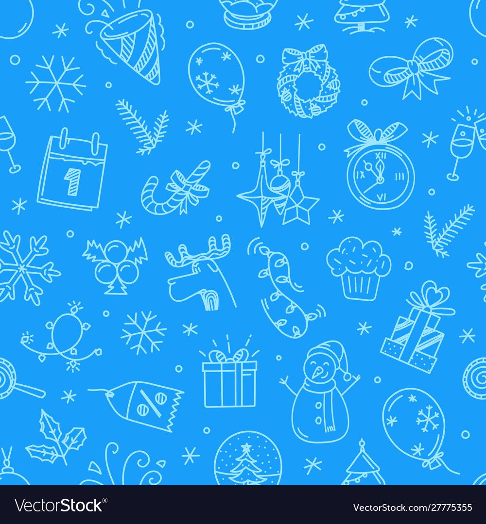 Christmas doodling seamless pattern