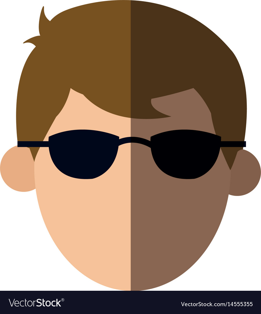 Faceless head man with sunglasses people image