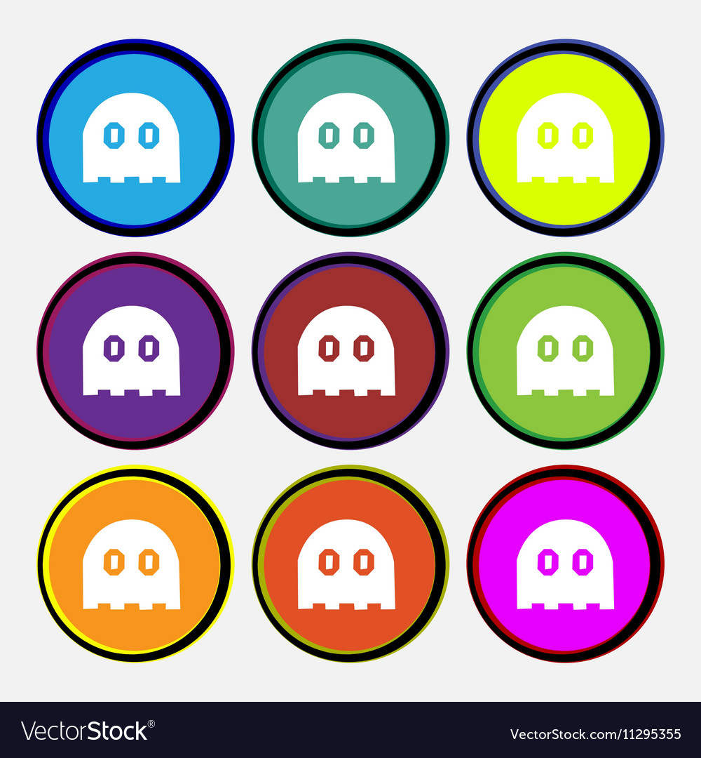 Ghost icon sign Nine multi colored round buttons