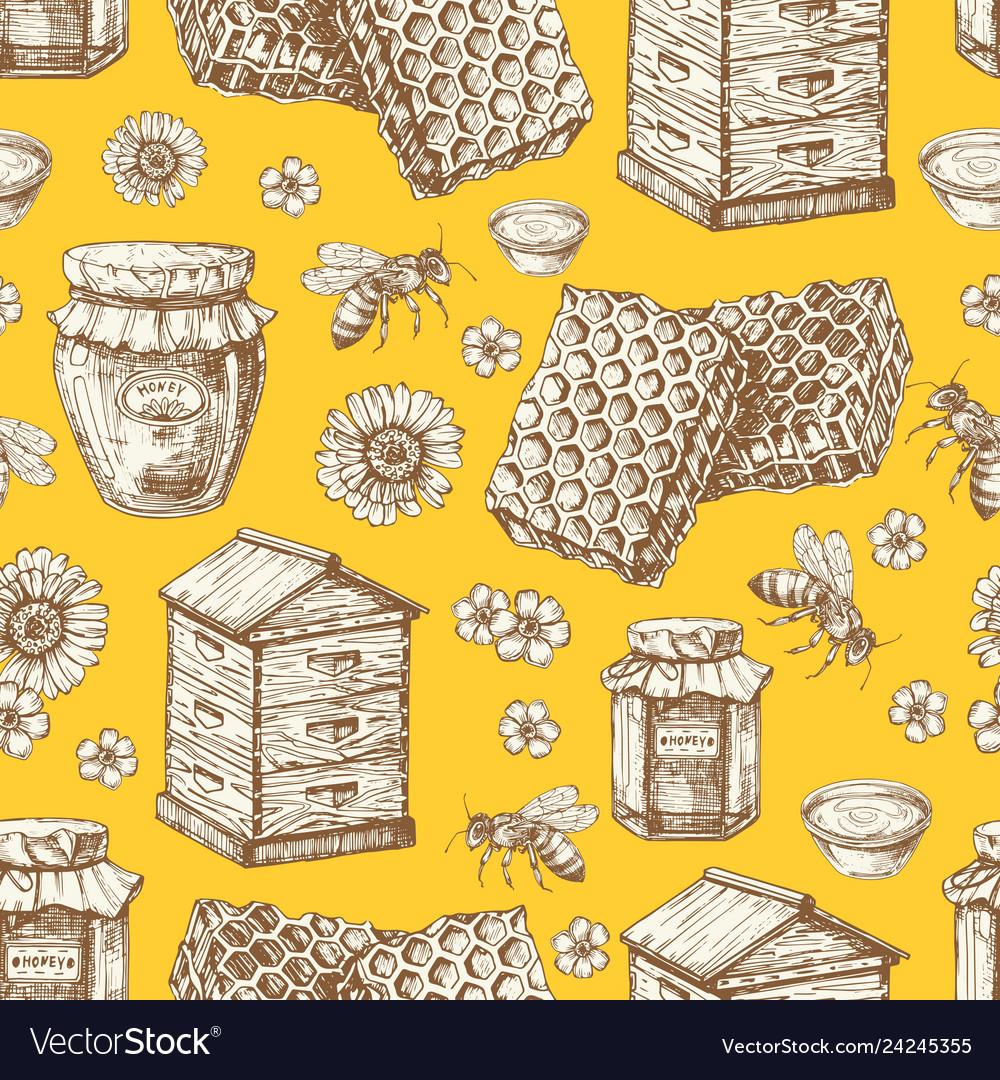 Hand drawn honey seamless pattern with jars bee