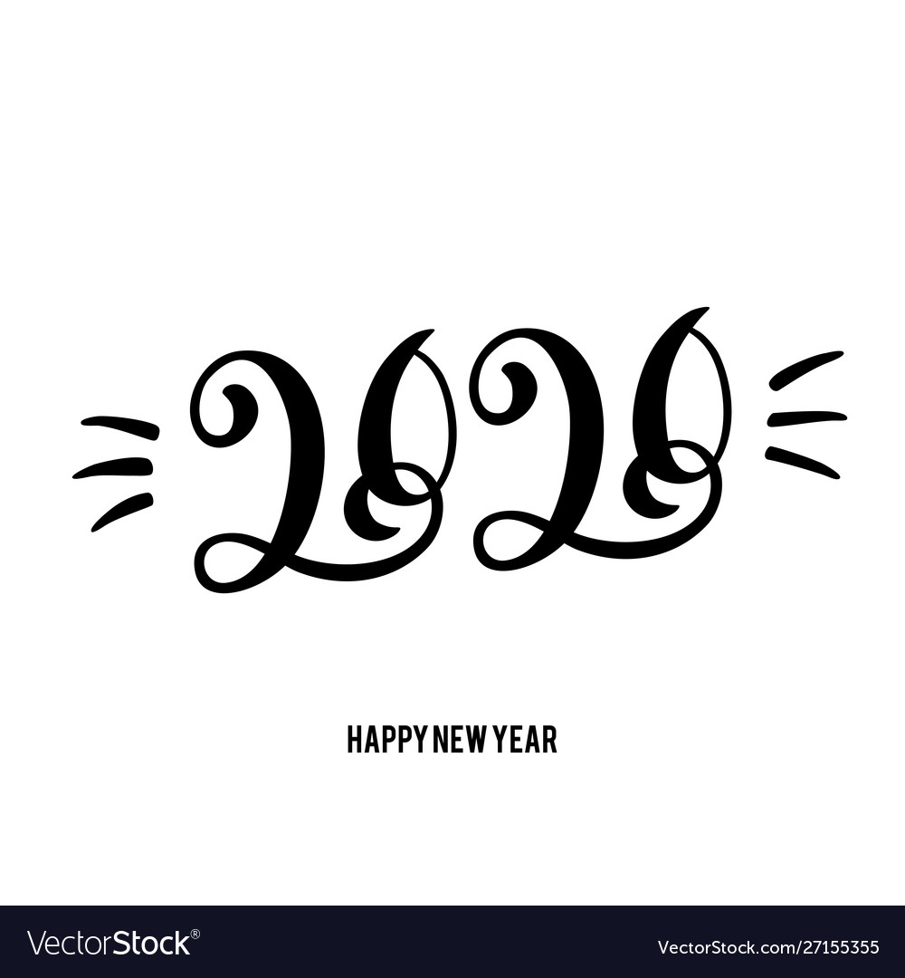 Happy new year 2020 card with hand drawn lettering
