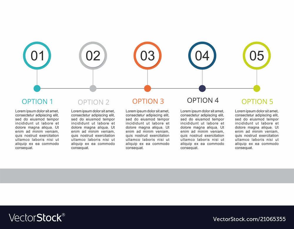 Infographic template with a five steps business