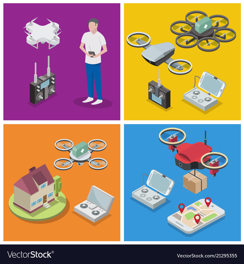 Isometric drone poster banner template set
