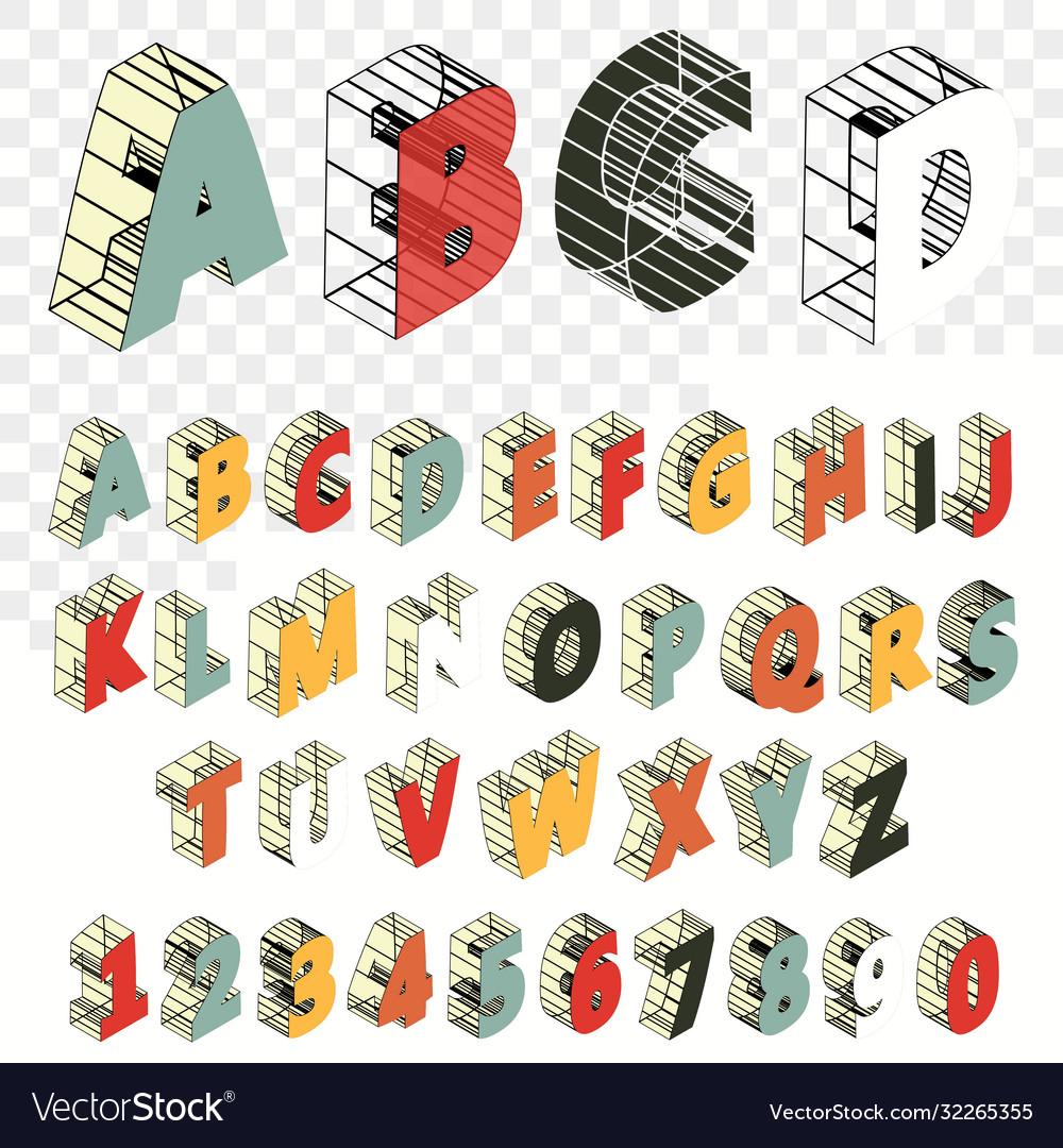 Isometric line font alphabet letters three