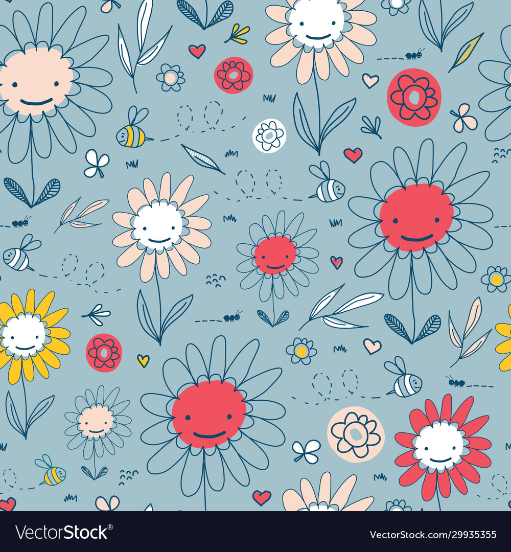 Kids pattern with doodle flowers and bees